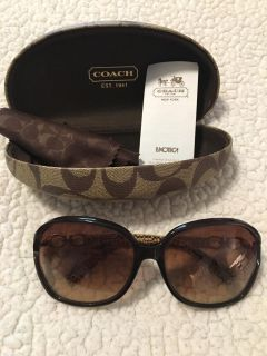 Women s coach sunglasses with case, some small scratches from wear but lots of life left!