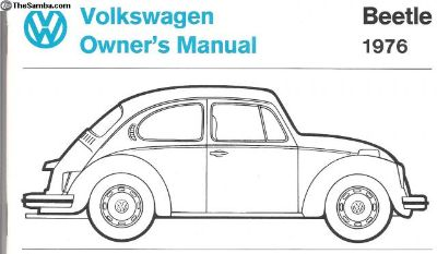Owners manual '76 &'77 T-I Bug & Vert NOS