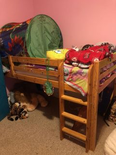 Junior loft bed with slide and mattress