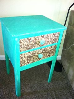 Turquoise end table or nightstand