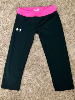 Girls Under Armour Fitted Cropped Pants - Youth Large