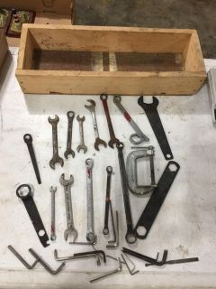MIXED LOT OF WRENCHES/TOOLS INCLUDES WOODEN BOX