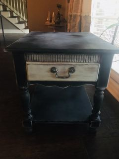 Solid wood two tone antiqued side table