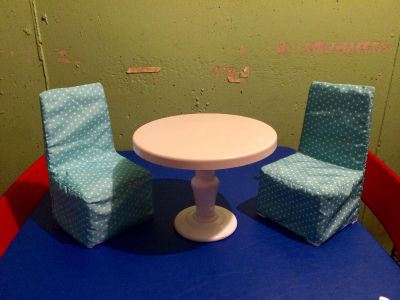 My Life Table and Chairs. Fits 18 dolls. Bigger than it appears. Selling for my Granddaughter