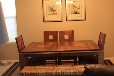Dining table, chairs, bench
