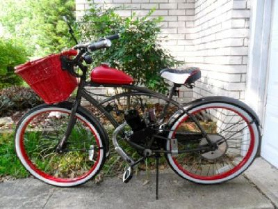 Motorized Bicycle Candy Cane Beach Cruiser