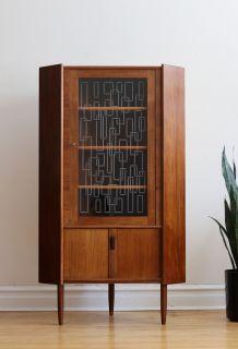 Mid Century Danish Modern Glass Corner Cabinet