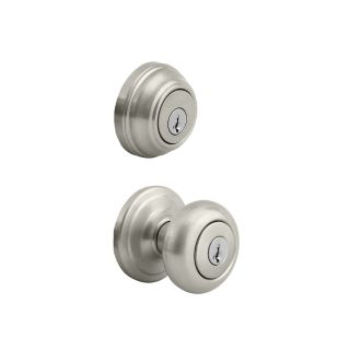 NEW-Kwikset Cameron Satin Nickel Smartkey Single-Cylinder Deadbolt Keyed Entry Door Knob Combo Pack