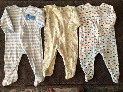 3 footed Onesies size 3-6 Months. No stains or holes. Smoke/Pet free home.