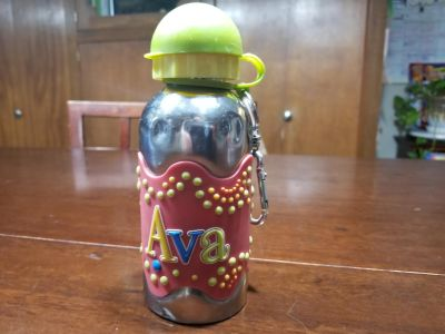 """""""Ava"""" metal water bottle with lid and keychain"""