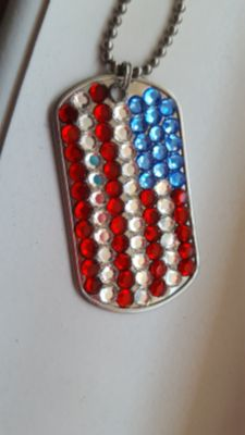 Beautiful swarovski dog tag red white and blue necklace