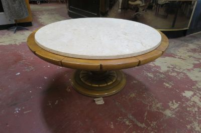 Vintage MCM round marble top walnut coffee table