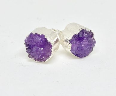 Brand New Amethyst and Silver Druzy Stud Earrings