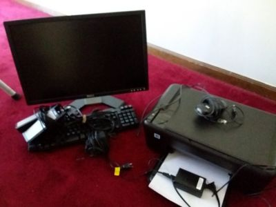 22 in Dell monitor, keyboard with mouse,and speakers. Inc. HP printer