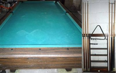 Vintage Pool Table + Wall Mount Cue Rack