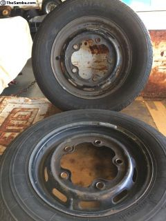 Pair of 66/67 beetle 15 wheels and tires