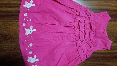 3t Gymboree hot pink dress with bunny and flowers