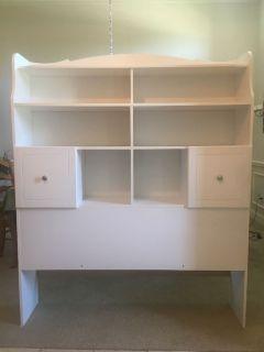 White bookcase headboard