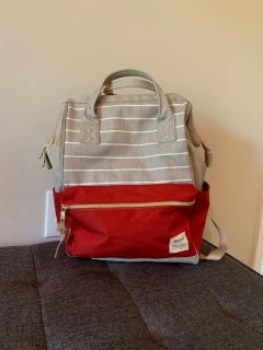 Red and Grey Backpack/diaper bag/gym bag