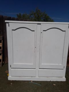 WHITE SOLID WOOD ARMOIRE