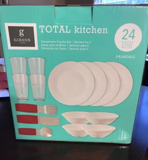 Gibson Home 24 Piece Total Kitchen Set. Ceramic. New & Never opened!