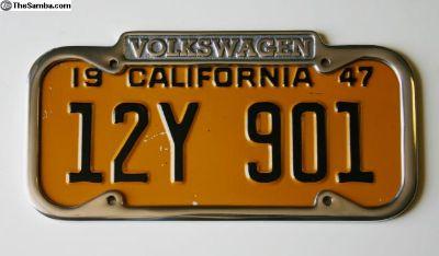 VW License Plate Frame - California 1940 - 1955
