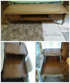Vintage COFFEE TABLE + 2 Matching End Tables