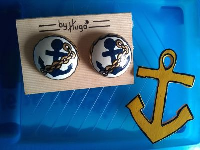 Earrings and pin set- anchor
