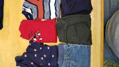 6 pc- 3 mth- 2 short sleeve and 1 long sleeve onesie tops and 3 pants. New condition.