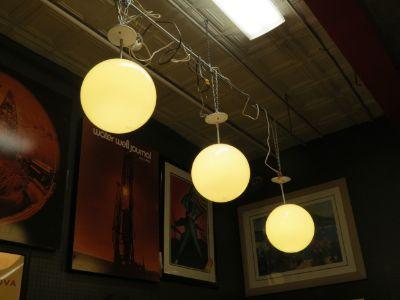 Mid Century Modern 2 White Globe Hanging Lamps