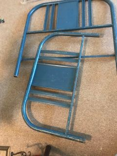 Vintage Blue Metal Twin Bed Headboard and Footboard