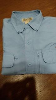 Duluth Trading Vented Men's Long Sleeve Outdoor Shirt Large Light Blue
