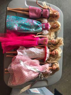 5 Barbie Dolls, Great Shape