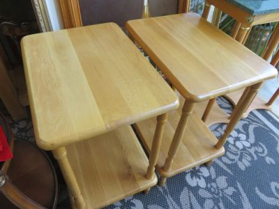 Pair of Solid Oak Side Tables