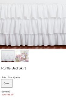 Twin size Pottery Barn Kids white 3 tier ruffle bed skirt. Paid $99. Asking $35