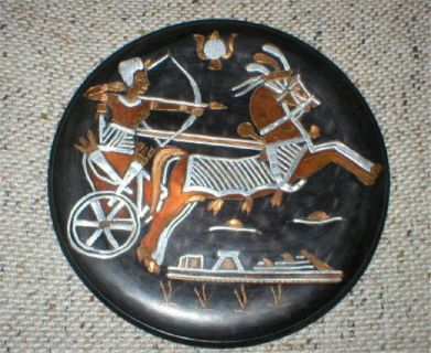 Egyptian Copper Art - Chariot with Rider - Metal Plaque - Vintage