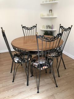 Wrought Iron / Wood Table and 4 Chairs
