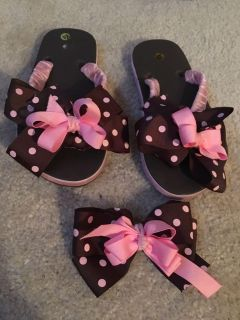 Ribbon Flip-Flops with matching bow size 1-2
