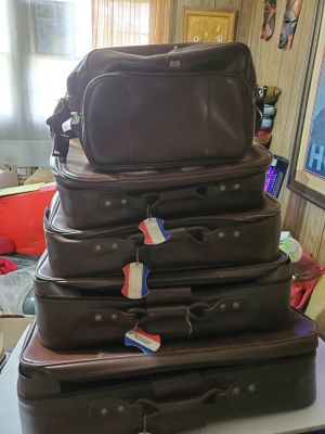 VINTAGE American Tourister 5 Piece Luggage Set Brown Soft Side Suitcase