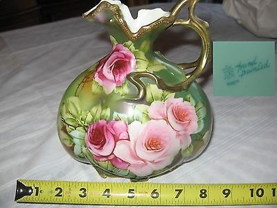 antique nippon hand painted green vase with floral bouquet and gilt beaded trim