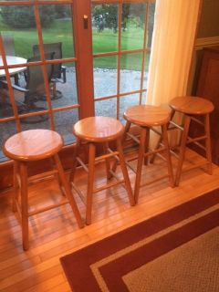 Bar Stools, Set of 4, Counter Height Swivel Top