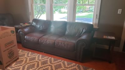 Faux leather brown couch