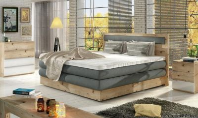 Modern Wooden Desma Bed, includes mattress