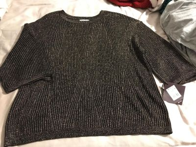 Lightweight blouse sweater? Size 1X gold/copper and black! New with tags!