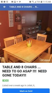 Kitchen table set with 8 chairs