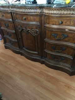 Nice dresser with mirror solid wood and top is heavy