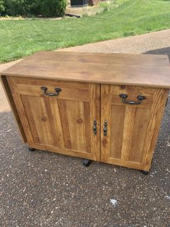 INCREDIBLE SEWING CABINET withdrop leaf side! See additional pictures!! ON WHEELS!! GREAT CONDITION!!