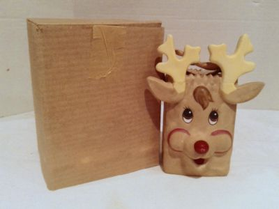 Ceramic Brown Paper Bag Rudolph The Red Nose Reindeer Christmas Container Vase