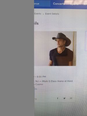2 Tickets to Tim McGraw Concert at Hard Rock Casino this Saturday 6/29 8pm
