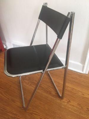 Arrben Tamara Black Leather Folding Chairs Pair
